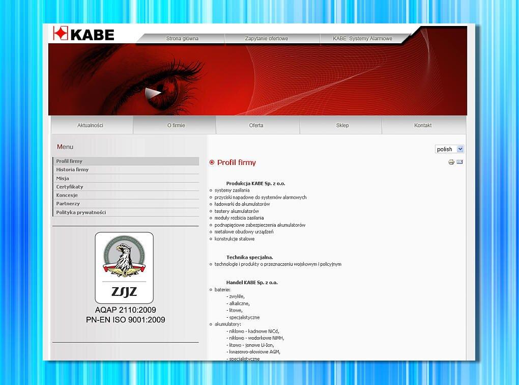 Strona internetowa firmy Kabe z Mikołowa